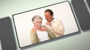 Montage of elderly people sharing moments together