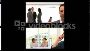 Montage of business people on the phone