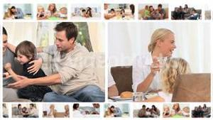 Montage of families enjoying different moments together
