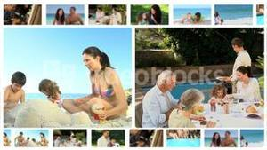 Montage of different families enjoying moments together