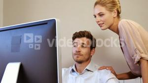 Attractive business team working together