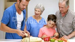 Happy family preparing the meal