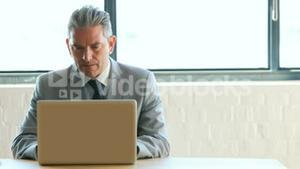 Businessman using laptop and receiving a phone call