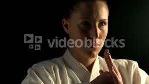 Woman practising karate