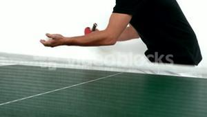 Person serving in ping pong