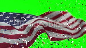 Video of American flag and confetti