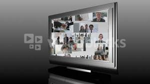 Television Screen showing Business Footage