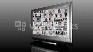Television Screen showing Business Situations
