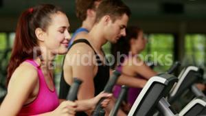 Fit people on elliptical bike
