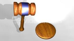 3D animation of a judges gavel