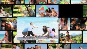 Montage of families outdoors