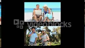 Montage of active senior couples