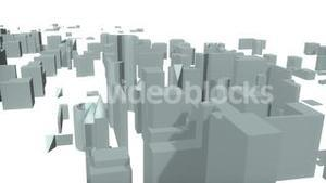3d City forming from the bottom