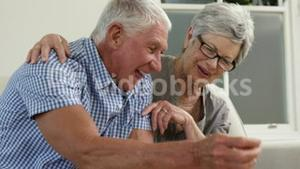 Senior couple putting money in piggy bank