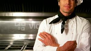 Portrait of chef posing in commercial kitchen