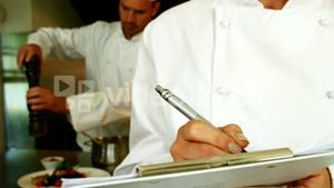 Focused chefs working