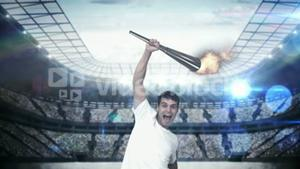 Montage of triumphing athlete holding Olympic torch over head