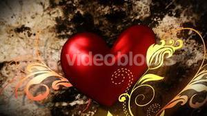Red heart with floral ornate