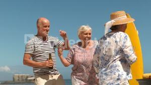 Group of mature people having some fun