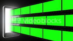 Montage of green screens
