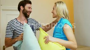Couple with pillow