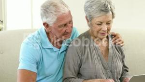 Happy senior couple using a computer
