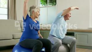 Old couple stretching