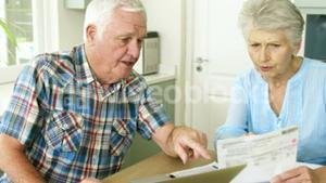 Old couple calculating theirs bills