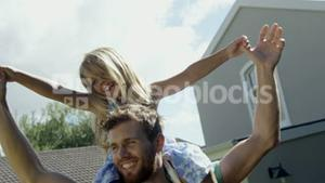 Father having fun with his daughter
