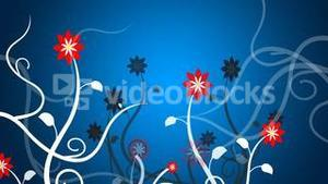 Growing vines in a blue background