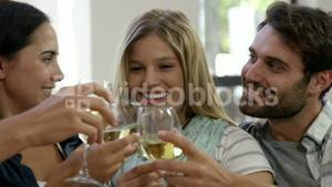 Happy couple toasting together