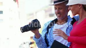 Portrait of mature couple is looking his camera