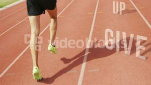 Athletic man running with the sentence don't give up on the floor