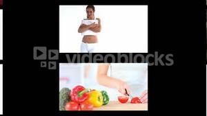 Montage of fit women dieting