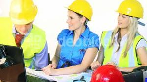 Architect women working together in office