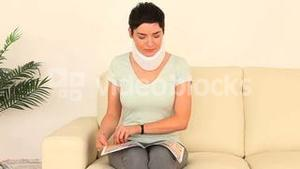 Injured woman waiting for her appointment