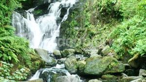 Footage of waterfall, mountain and river