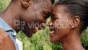 Close up of cute couple embracing