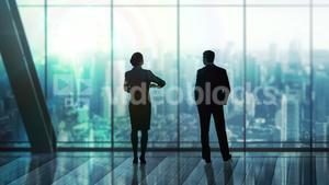 Digital image of business people are looking away