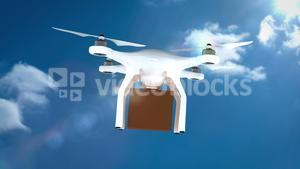 Digital image of drone is holding a cardboard box and flying