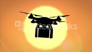 Digital image of drone silhouette holding a box