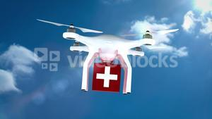 Digital image of drone is holding a medicine box and flying