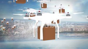 Digital image of drones holding cardboard boxes and flying