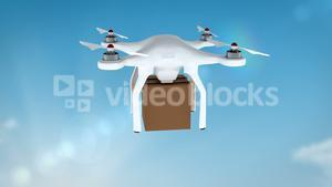 Digital image of drone holding cardboard box