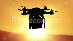 Digital image of silhouette drone holding a box