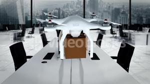 Digital image of drone holding cardboard box and flying