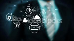Business man touching technology graphic