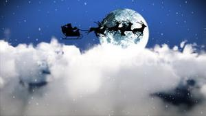 Santa Claus Flying though the sky