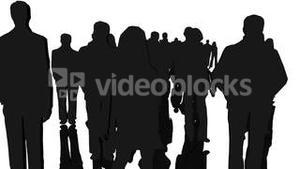 Black silhouettes of men and women people standing