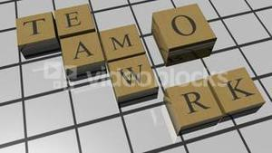 Word game spelling Teamwork. Concept of unity in business